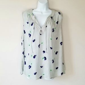 Old Navy Grey and Blue Floral Tank Top